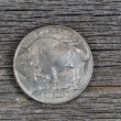 Постер, плакат: American Buffalo Nickel on Rustic Wood