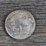 ������, ������: American Buffalo Nickel on Rustic Wood