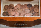 Oak antique dresser drawer filled with old Indian Head Cents  — Stock Photo