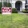 Modern Home for Sale with sign in front yard — Stock Photo #55021027