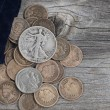 Bag of United States Rare Coins on Wood — Stock Photo #55213259