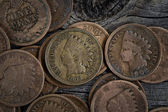 Rare Penny Coins on Wood  — Stock Photo