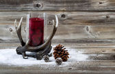 Western Style Holiday Decorations on Old Wood  — Stock Photo