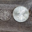 Silver Half dollar and Dollar coins — Stock Photo #58120749