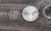 Silver Half dollar and Dollar coins  — Foto de Stock