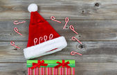Holiday Decorations on Rustic Wood  — Foto de Stock