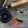 Fishing Fly reel with accessories on wood  — Stock Photo #60019495