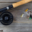 Fly Reel with Assorted Flies  — Stock Photo #60019501