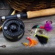 Fishing Gear on Rustic Wood with vignette  — Stock Photo #60158941