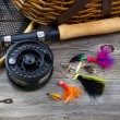 Fishing Gear on Rustic Wood  — Stock Photo #60158981