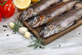 Wild Trout being prepared for Cooking — Stock Photo