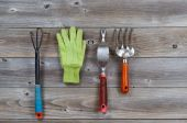 Used Hand Garden Tools on Rustic wood — Stock Photo
