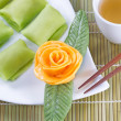 Fine Chinese Desserts with Green Tea — Stock Photo #61588675