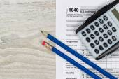 Tax Forms with business desktop objects  — Stock Photo