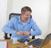 Mature man in rage while working  — Stock Photo