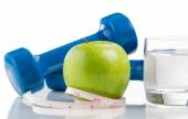 Fresh apple and water for diet  — Stock Photo