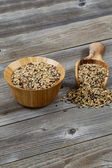 Traditional Mixed Grain Rice with Kitchenware on Rustic Wood  — Stock Photo