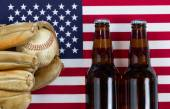 American pastime with baseball and beer  — Stock Photo