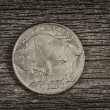 Постер, плакат: Buffalo Nickel on aged wood