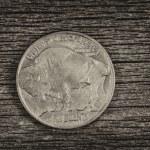 ������, ������: Buffalo Nickel on aged wood