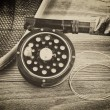 Vintage traditional trout fishing equipment — Stock Photo #69506731
