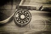Vintage traditional trout fishing equipment  — Foto Stock