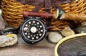 Wet antique fishing gear — Stock Photo