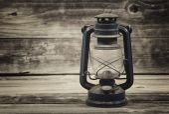 Old Lantern on aged wood  — Stock Photo