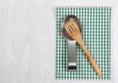 Traditional wooden spoon and spoon holder  — Stock Photo