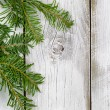 Grand fir branch on rustic white wooden boards — Stock Photo #78972022