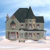Victorian Winter House — Stock Photo