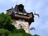 Clock Tower in Schlossber, Graz — Stock Photo