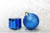 Christmas ball and gift — Stock Photo