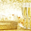 Champagne and gift — Stock Photo #52310939