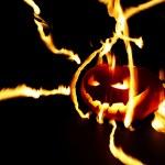 Burning halloween pumpkin — Stock Photo #52783735