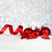 Christmas decor on snow — ストック写真