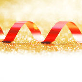 Curly red gift ribbon — Stok fotoğraf