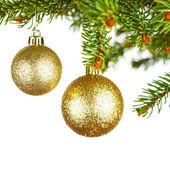 Decorative balls on fir branch — Stock Photo