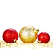 Glitter christmas balls — Stock Photo