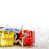 Decorated holiday gifts — Stock Photo