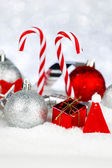 Christmas decor on snow — Foto de Stock