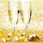 Champagne and ribbon — Stock Photo