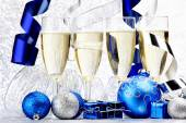 Champagne and balls — Stock Photo