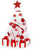 Christmas tree with red decor — Stock Photo