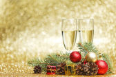 Champagne en decoraties — Stockfoto