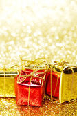 Boxes with holiday gifts — Foto Stock