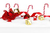 Christmas decorations on snow — Stock Photo