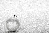 Glittering silver Christmas ball — Stock Photo