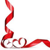 Red heart ribbon bow — Stock Photo