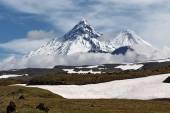 Volcanoes of Kamchatka: Kamen, Kliuchevskoi, Bezymianny — Stock Photo